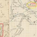 """Minutas Cartográficas, término municipal de Teruel. Zona 1ª Hojas 1ª y 2ª. Año 1916. Instituto Geográfico y Estadístico. Enmarcada en amarillo la zona donde se sitúa la """"Masía de Nogués"""" (paraje subrayado en naranja), el puente del ferrocarril y el Barranco del Nabo; enmarcada en rojo la zona del cementerio junto al cual se situaba, en tiempos, el """"Camino del Calvario"""" (subrayado en amarillo). La escala de edición era 1:25.000, pero la de visualización que muestro está a E:1/8000  © Instituto Geográfico Nacional (Autor: Inma)"""