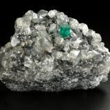 Beryl (variety emerald), Calcite, Dolomite<br />La Pita mining district, Municipio Maripí, Western Emerald Belt, Boyacá Department, Colombia<br />53x38x34mm, xl=5x4mm<br /> (Author: Fiebre Verde)