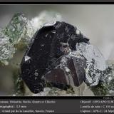 Anatase on Hematite with Rutile, Quartz and Chlorite<br />Grand Pic de la Lauzière, La Lauzière Massif, Saint-Jean-de-Maurienne, Savoie, Auvergne-Rhône-Alpes, France<br />fov 3.5 mm<br /> (Author: ploum)