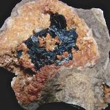 dolomite on sphalerite on dolomite<br />State Route 56 road cut, Canton, Washington County, Indiana, USA<br />geode is 5 cm, the sphalerite is 3.3 cm<br /> (Author: Bob Harman)
