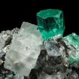 Beryl (variety emerald), Calcite, Fluorite<br />Chivor mining district, Municipio Chivor, Eastern Emerald Belt, Boyacá Department, Colombia<br />25x24x21mm, main xl=10mm<br /> (Author: Fiebre Verde)