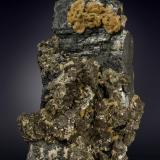 Ferberite, Siderite, Arsenopyrite and Pyrite<br />Minas da Panasqueira, Aldeia de São Francisco de Assis, Covilhã, Castelo Branco, Cova da Beira, Centro, Portugal<br />110 X 64 mm<br /> (Author: Manuel Mesa)