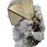 Pyrite, Quartz<br />Huanzala Mine, Huallanca District, Dos de Mayo Province, Huánuco Department, Peru<br />102 mm x 70 mm x 40 mm<br /> (Author: Carles Millan)