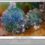 Adamite<br />Hilarion Mine, Hilarion area, Kamariza Mines, Agios Konstantinos, Lavrion Mining District, Attikí (Attica) Prefecture, Greece<br />fov 2.5 mm<br /> (Author: ploum)