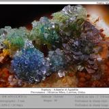 Adamite and Agardite-(Y)<br />Hilarion Mine, Hilarion area, Kamariza Mines, Agios Konstantinos, Lavrion Mining District, Attikí (Attica) Prefecture, Greece<br />fov 5 mm<br /> (Author: ploum)