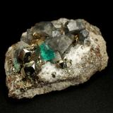 Beryl (variety emerald), Albite (variety cleavelandite), Pyrite, Calcite<br />Chivor mining district, Municipio Chivor, Eastern Emerald Belt, Boyacá Department, Colombia<br />47x16x29mm, xl=4mm<br /> (Author: Fiebre Verde)
