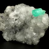 Beryl (variety emerald), Calcite, Quartz<br />Muzo mining district, Western Emerald Belt, Boyacá Department, Colombia<br />71x49x20mm, aggregate=15x9mm<br /> (Author: Fiebre Verde)