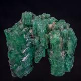 Beryl (variety emerald), Calcite<br />La Pita mining district, Polveros Mine, Municipio Maripí, Western Emerald Belt, Boyacá Department, Colombia<br />4.2 x 4.3 cm<br /> (Author: am mizunaka)