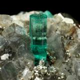Beryl (variety emerald), Albite (variety cleavelandite), Pyrite, Calcite<br />Chivor mining district, Manantial Mine, Municipio Chivor, Eastern Emerald Belt, Boyacá Department, Colombia<br />44x23x24mm, main xl=8mm<br /> (Author: Fiebre Verde)