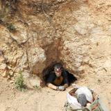 _Crawling into the mine where the fluorite was found. Mike Sanders photo. (Author: Philip Simmons)
