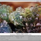 Adamite and Mixite<br />Christiana Mine, Kamariza Mines, Agios Konstantinos, Lavrion Mining District, Attikí (Attica) Prefecture, Greece<br />fov 3.5 mm<br /> (Author: ploum)