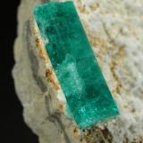 Beryl (variety emerald), Albite (variety cleavelandite)<br />Gachalá mining district, Municipio Gachalá, Eastern Emerald Belt, Cundinamarca Department, Colombia<br />86x49x11mm, xls=14 &amp; 12mm<br /> (Author: Fiebre Verde)