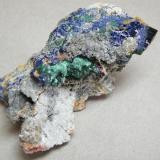 Azurite and Malachite<br />Tsumeb Mine, Tsumeb, Otjikoto Region, Namibia<br />45mm x 74mm x 48mm<br /> (Author: Heimo Hellwig)