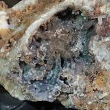 Rosasite, Quartz and Quartz (variety chalcedony)<br />Fat Jack Mine, Lane Mountain, Crown King, Pine Grove District, Bradshaw Mountains, Yavapai County, Arizona, USA<br />6cm<br /> (Author: TripleRoyale)