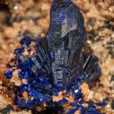 Azurite on DolomiteSchmitt dolomite Quarry, Altenmittlau, Freigericht, Main-Kinzig-Kreis District, Spessart, Hesse/Hessen, GermanyMain crystal size: 1.2 × 0.4 cm (Author: Jordi Fabre)