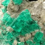 Beryl (variety emerald), Calcite, Muscovite<br />La Pita mining district, Cunas Mine, Municipio Maripí, Western Emerald Belt, Boyacá Department, Colombia<br />40x63x47mm, largest xl=14x11mm<br /> (Author: Fiebre Verde)