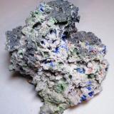 Azurite, Duftite, Mottramite, Calcite etc.<br />Tsumeb Mine, Tsumeb, Otjikoto Region, Namibia<br />155mm x 120mm x 100mm<br /> (Author: Heimo Hellwig)