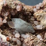 Baryte on Calcite<br />Frizington Parks (Iron Ore), Frizington, West Cumberland Iron Field, former Cumberland, Cumbria, England, United Kingdom<br />2cm<br /> (Author: colin robinson)