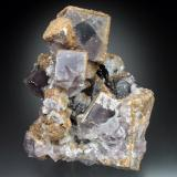 Fluorite, Ankerite, Quartz<br />Carricks Mine, Ireshopeburn, Weardale, North Pennines Orefield, County Durham, England, United Kingdom<br />10x8x6 cm overall size<br /> (Author: Jesse Fisher)