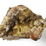 Siderite on Quartz (variety chalcedony)<br />Penlee Quarry, Mousehole, Penzance Civil Parish, Cornwall, England / United Kingdom<br />6x5 cm<br /> (Author: markbeckett)