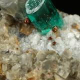 Beryl (variety emerald), Albite (variety cleavelandite), Calcite, Pyrite<br />Chivor mining district, Municipio Chivor, Eastern Emerald Belt, Boyacá Department, Colombia<br />51x18x21mm, xl=5mm<br /> (Author: Fiebre Verde)