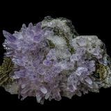 Quartz (variety amethyst), Quartz, Pyrite after Pyrrhotite<br />Naica Mine, Naica, Municipio Saucillo, Chihuahua, Mexico<br />9.8 x 6.6 cm<br /> (Author: am mizunaka)