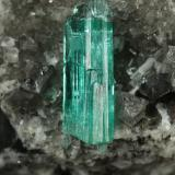 Beryl (variety emerald), Calcite, Dolomite, Pyrite<br />Chivor mining district, Municipio Chivor, Eastern Emerald Belt, Boyacá Department, Colombia<br />32x41x31mm, xl=15mm<br /> (Author: Fiebre Verde)