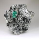 Beryl (variety emerald), Calcite, Pyrite<br />La Pita mining district, Polveros Mine, Municipio Maripí, Western Emerald Belt, Boyacá Department, Colombia<br />77x86x68mm, xl=19mm<br /> (Author: Fiebre Verde)