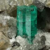 Beryl (variety emerald), Calcite, Dolomite, Pyrite<br />La Pita mining district, Municipio Maripí, Western Emerald Belt, Boyacá Department, Colombia<br />67x53x27mm, xl=11mm<br /> (Author: Fiebre Verde)