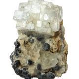Fluorite, Galena<br />Naica Mine, Naica, Municipio Saucillo, Chihuahua, Mexico<br />Specimen height 6 cm, main fluorite crystal 3,5 cm<br /> (Author: Tobi)