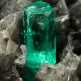 Beryl (variety emerald), Calcite, Pyrite<br />Coscuez mining district, Municipio San Pablo de Borbur, Western Emerald Belt, Boyacá Department, Colombia<br />67x47x55mm, xl=19mm<br /> (Author: Fiebre Verde)
