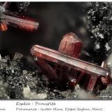 Proustite<br />Imiter Mine, Jebel Saghro, Imiter District, Tinghir Province, Drâa-Tafilalet Region, Morocco<br />fov 3.5 mm<br /> (Author: ploum)