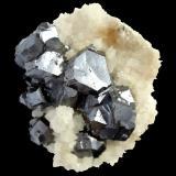 Galena, Calcite<br />Naica Mine, Naica, Municipio Saucillo, Chihuahua, Mexico<br />Specimen size 6 cm, largest galena crystal 1,5 cm<br /> (Author: Tobi)