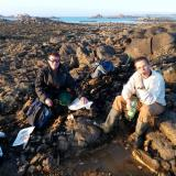 Me (left) and a friend, after dig in the coast of Santec (English Channel sea), Finistere Department, Brittany, FRANCE. February 2017. We found black tourmaline, orthoclase, apatite... (Author: Benj)