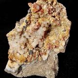 Sphalerite, Calcite and Dolomite with Quartz<br />Former State Route 37 road cuts, Bloomington (North), Monroe County, Indiana, USA<br />Specimen is 12 cm. The sphalerite is up to 1 cm. The calcite is up to 1 cm.<br /> (Author: Bob Harman)
