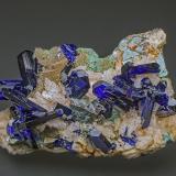 Azurite, Dolomite, Malachite<br />Touissit, Touissit District, Jerada Province, Oriental Region, Morocco<br />5.0 x 3.2 cm<br /> (Author: am mizunaka)