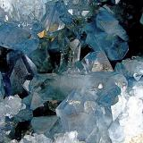 celestine<br />Sakoany deposit, Katsepy Commune, Mitsinjo District, Boeny Region, Mahajanga (Majunga) Province, Madagascar<br />9.5 cm doubly terminated crystal with perpendicular 4+ cm gemmy crystal directly behind<br /> (Author: Bob Harman)
