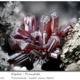 Proustite<br />Imiter Mine, Jebel Saghro, Imiter District, Tinghir Province, Drâa-Tafilalet Region, Morocco<br />fov 5.5 mm<br /> (Author: ploum)