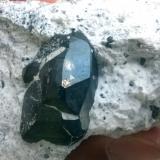 Chalcocite-covered pyrite<br />Milpillas Mine, Cuitaca, Municipio Santa Cruz, Sonora, Mexico<br />Crystal 2.5 cm<br /> (Author: Cesar M. Salvan)