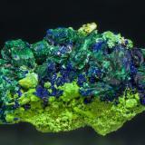 Azurite, Malachite, and Bayldonite<br />Tsumeb Mine, Tsumeb, Otjikoto Region, Namibia<br />2.9 x 4.0 x 6.8 cm<br /> (Author: crosstimber)