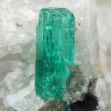 Beryl (variety emerald), Calcite<br />Coscuez mining district, Municipio San Pablo de Borbur, Western Emerald Belt, Boyacá Department, Colombia<br />18x30x34mm, xl=9mm<br /> (Author: Fiebre Verde)