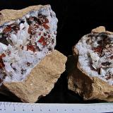 Aragonite on QuartzMonroe County, Indiana, USAthe diverging aragonite sprays are 2 cm - 3 cm. (Author: Bob Harman)
