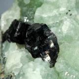 Babingtonite on Prehnite<br />Lane Quarry, Westfield, Hampden County, Massachusetts, USA<br />4.1 x 6.3 cm<br /> (Author: crosstimber)