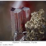 Proustite with Pyrite<br />Imiter Mine, Jebel Saghro, Imiter District, Tinghir Province, Drâa-Tafilalet Region, Morocco<br />fov 2.3 mm<br /> (Author: ploum)