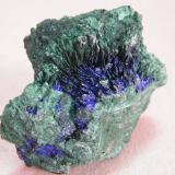 Azurite and Malachite<br />Tsumeb Mine, Tsumeb, Otjikoto Region, Namibia<br />66mm x 54mm x 41mm<br /> (Author: Heimo Hellwig)