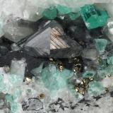 Beryl (variety emerald), Calcite, Pyrite<br />Coscuez mining district, Municipio San Pablo de Borbur, Western Emerald Belt, Boyacá Department, Colombia<br />122x65x48mm, xls up to 8mm<br /> (Author: Fiebre Verde)