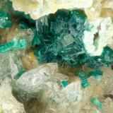 Brochantite, Cerussite<br />Reward Mine, Reward, Russ District, Inyo County, California, USA<br />FOV = 2.9 mm<br /> (Author: Doug)