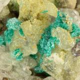 Brochantite, Cerussite<br />Reward Mine, Reward, Russ District, Inyo County, California, USA<br />FOV = 3.2 mm<br /> (Author: Doug)