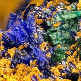 Azurite, Malachite<br />Silver Hill Mine group, Waterman District, Waterman Mountains, Pima County, Arizona, USA<br />FOV = 3.0 mm<br /> (Author: Doug)