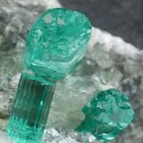 Beryl (variety emerald), Calcite, Pyrite<br />Chivor mining district, Municipio Chivor, Eastern Emerald Belt, Boyacá Department, Colombia<br />77x24x45mm, longest xl=7mm<br /> (Author: Fiebre Verde)